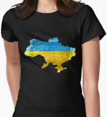 Ukraine Flag and Map Women's Fitted T-Shirt
