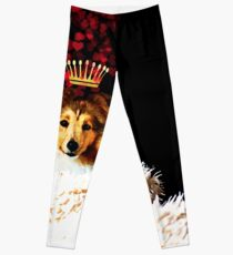 Royal Love Pup, Sheltie, Shetland Sheepdog crown of hearts Leggings