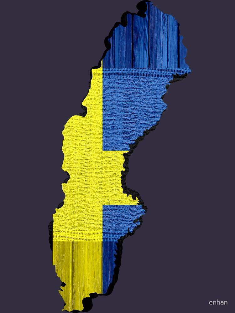 Schweden Flagge Karte von enhan
