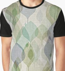Chic Ochre Green Violet Teal Brown Leaves Pattern Graphic T-Shirt