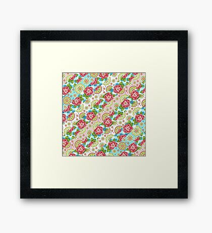 Mandala and Rose Stripe Framed Print
