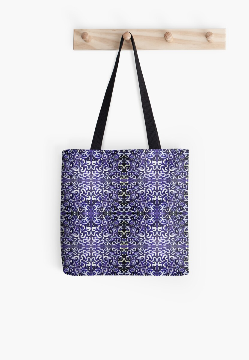white swirls and dots on purple, pattern by Dawna Morton