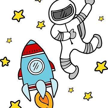 Astronaut and Rocket in Space Full of Stars - Children Doodle by DoodleJourney