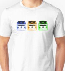 VW Kombi row - Blue Orange Green Unisex T-Shirt