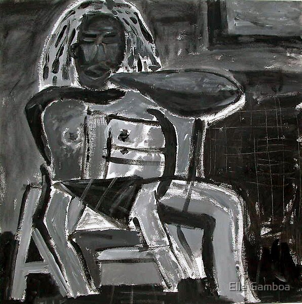 Black Man - Acrylic on Canvas - 18 x 24 inches by Elle Gamboa