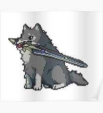 The Great Gray Pixel Wolf Poster