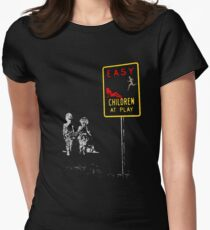 Beach playing games... Women's Fitted T-Shirt
