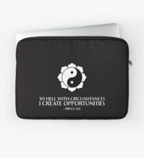 I create opportunities - Bruce Lee - White Text Laptop Sleeve