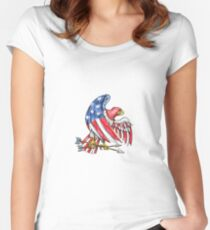 American Eagle Stars and Stripes Flag Tattoo Women's Fitted Scoop T-Shirt