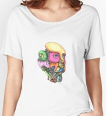 Female Humanoid Robot Head Tattoo Women's Relaxed Fit T-Shirt