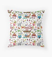 Doodle colorful thailand seamless pattern Throw Pillow