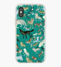 Wolves of the World (Green pattern) Vinilo y funda para iPhone