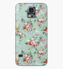 Elegantes rosa Blumenmuster der schönen Rosen Hülle & Klebefolie für Samsung Galaxy