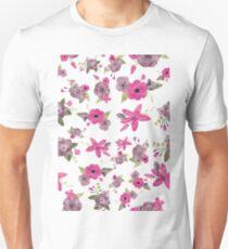 Pink Floral Watercolour Pattern T-Shirt