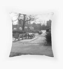 Cold bench Throw Pillow