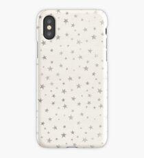 Silver stars white beige  iPhone Case/Skin