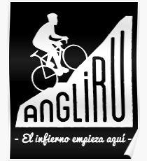 """Póster Angliru escalará """"El infierno empieza aquí"""" ciclismo Vuelta España"""