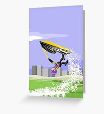 Boy flying through the air with his jet ski Greeting Card