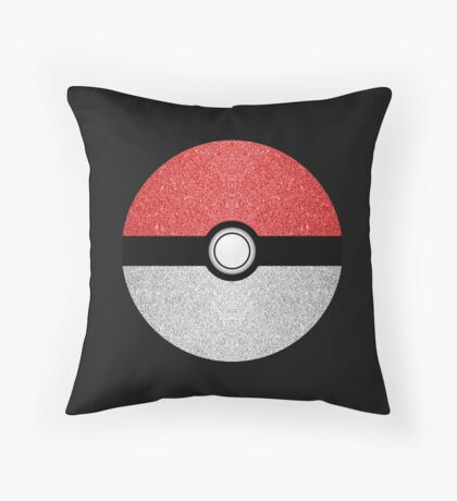 Sparkly red and silver sparkles poke ball on dark gray  Throw Pillow