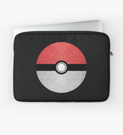 Sparkly red and silver sparkles poke ball on dark gray  Laptop Sleeve