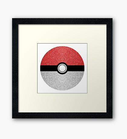 Sparkly red and silver sparkles poke ball on dark gray  Framed Print