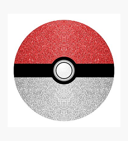 Sparkly red and silver sparkles poke ball on dark gray  Photographic Print