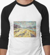 Sandy beach in Aberdyfi / Aberdovey, Wales, UK Men's Baseball ¾ T-Shirt