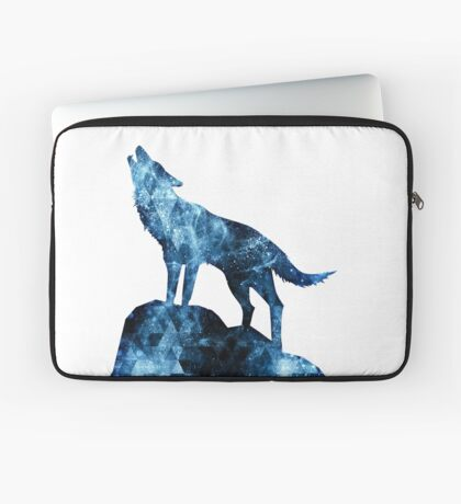 Howling Wolf blue sparkly smoke silhouette Laptop Sleeve