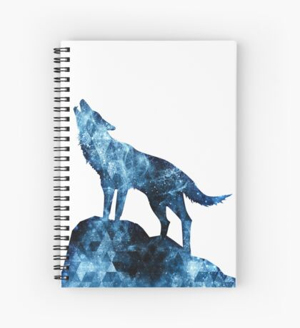 Howling Wolf blue sparkly smoke silhouette Spiral Notebook