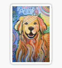 Original Modern Golden Retriever dog art painting / Max Sticker
