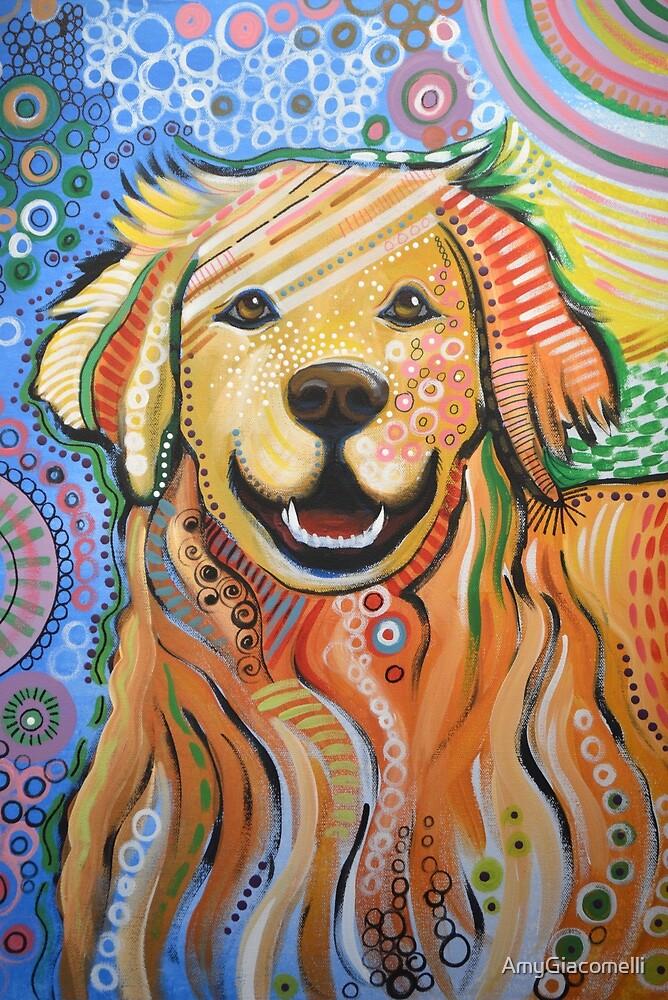 Original Modern Golden Retriever dog art painting / Max by AmyGiacomelli