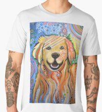 Original Modern Golden Retriever dog art painting / Max Men's Premium T-Shirt