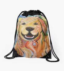 Original Modern Golden Retriever dog art painting / Max Drawstring Bag