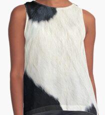 Blusa sin mangas Cuero de vaca Blanco y negro