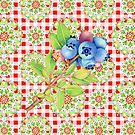 Maine Blueberry Red Gingham Mandala by PatriciaSheaArt