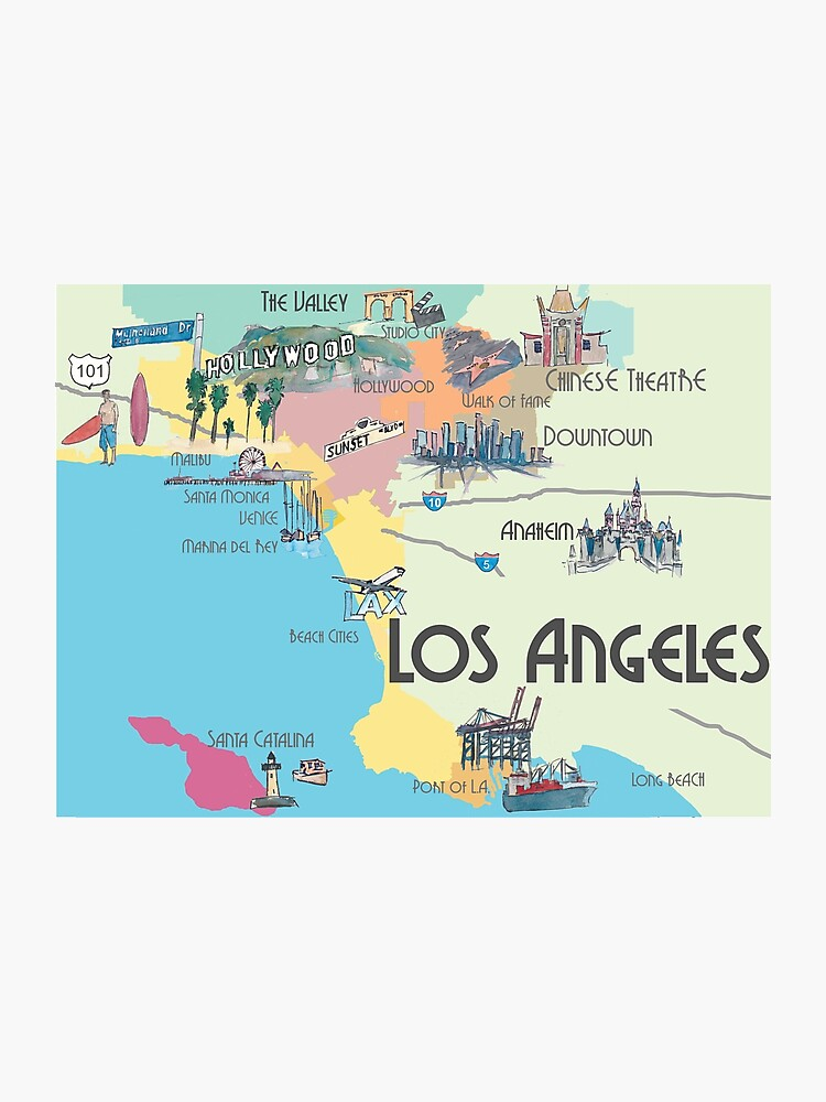 photo about Printable Maps of Los Angeles titled Los Angeles - Map Photographic Print