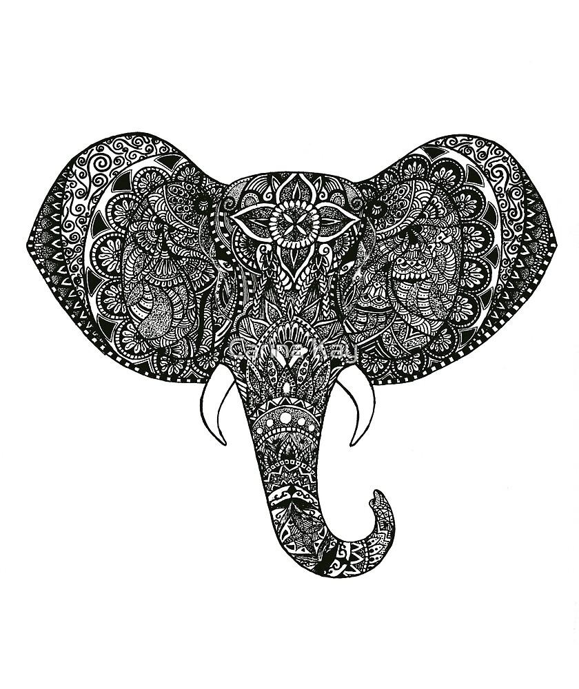 Elephant Zentangle by Carina Kay