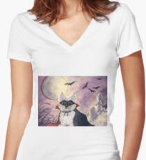 Count Westie! Westie dog Halloween Women's Fitted V-Neck T-Shirt