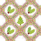 Polka Dot Christmas Lattice Design by PatriciaSheaArt