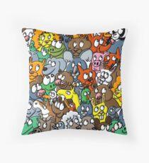 La fresque animalière Throw Pillow