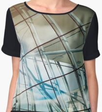 Modern glass building in Brussels, architecture concept, Belgium Women's Chiffon Top