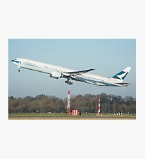 Cathay Pacific 777-300ER Departing Manchester Airport Photographic Print