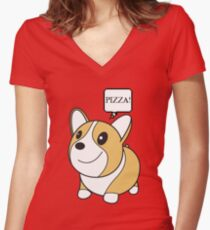 Corgi - Pizza Women's Fitted V-Neck T-Shirt