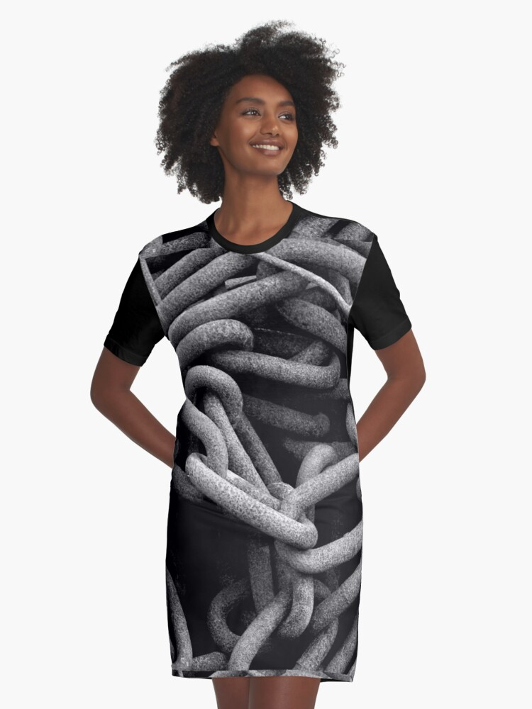 Chains black and white Graphic T-Shirt Dress Front