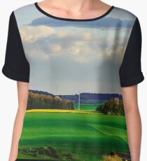Beautiful landscape with yellow and green fields and windfarm on horizon line, Belgium Women's Chiffon Top
