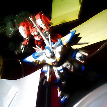 Gundams Advancing Over Desktop by Shadi
