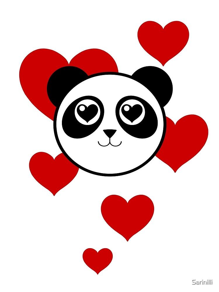 Love Panda with Hearts by Sarinilli