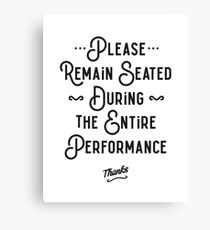 Please Remain Seated Bathroom Sign Canvas Print