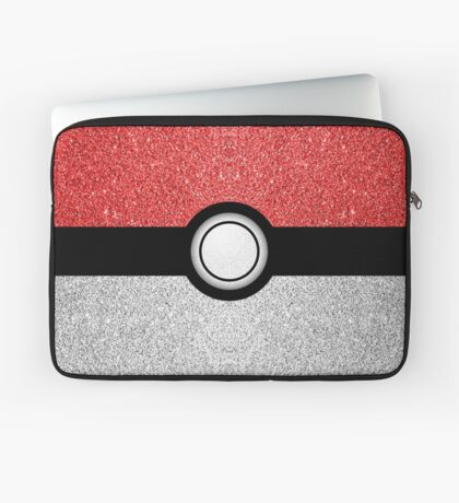 Sparkly red and silver sparkles poke ball Laptop Sleeve