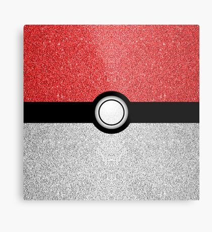 Sparkly red and silver sparkles poke ball Metal Print